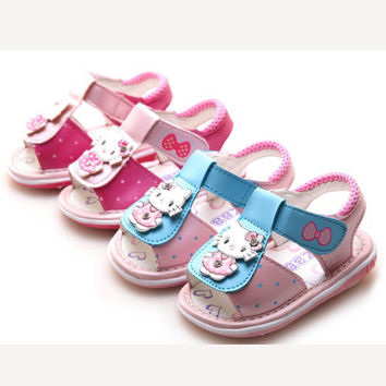Deals Blast: 0-3 years old Kitty Sandals baby girls sandals Cool Lovely Toddler Baby Sandals Summer Soft Soled Shoes