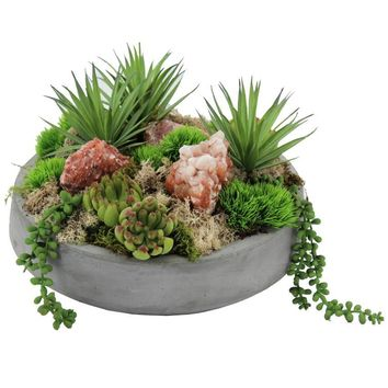 Succulents and Red Calcite in Concrete Bowl