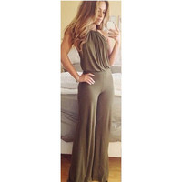 Summer Style Robe Sexy Women Jumpsuit Sleeveless Backless Rompers Women Off-Shoulder Casual Long Jumpsuit Overall Plus Size