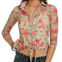 Printed Lace Tie Shirt | Shop Just Arrived at Wet Seal