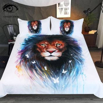 Memories by Pixie Cold Art Bedding Set Animal Printed Duvet Cover Lion and Butterfly Bed Set Watercolor Bedclothes 3-Piece