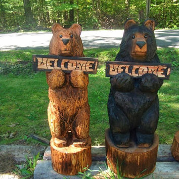 "36"" Chainsaw Carved Bear Holding a Carved Welcome Sign"