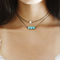 two layered chokers (duo deal) - triple turquoise beaded choker, basic pearl choker, black cord, dainty, minimalistic, delicate