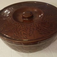 Antique Yellow Ware Crock Leaf & Brick Relief Brown Glaze Lidded Bowl