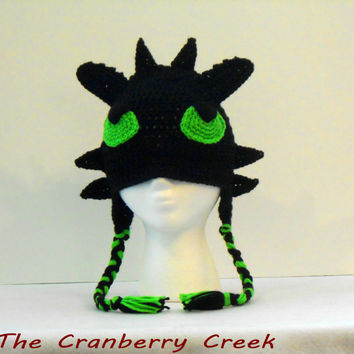 Toothless Crocheted Earflap Hat/Beanie from How to Train Your Dragon 2, Halloween Costume, Christmas or Birthday Gift