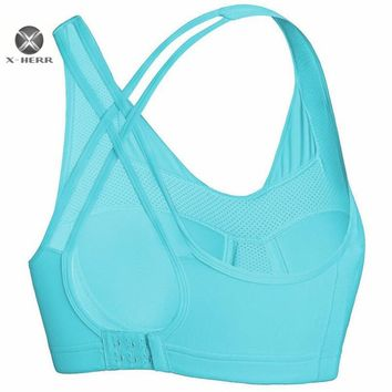 X-HERR Hot Sale Sports Bra Criss Cross Back Sport Top For Women Breathable Crop Top Bras For Girl Push Up Fitness Top