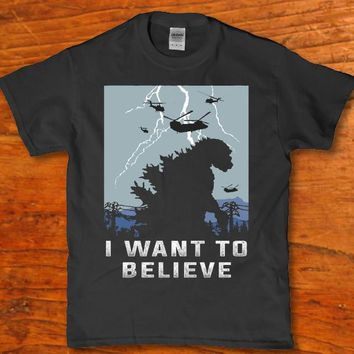 I want to believe Godzilla awesome Classic horror t-shirt Men's adult