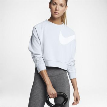 """Nike"" Women Sport Casual Print Long Sleeve Pullover Sweatshirt Short Sweater Tops"