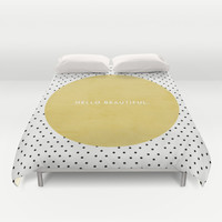 GREEN HELLO BEAUTIFUL - POLKA DOTS Duvet Cover by Allyson Johnson