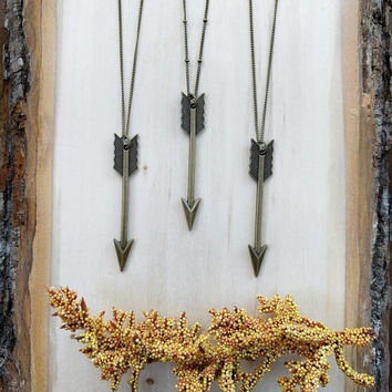 Bronze Arrow Necklace, Boho Necklace, Layered Necklace, Long Necklace, Pendant Necklace, Layering Necklace