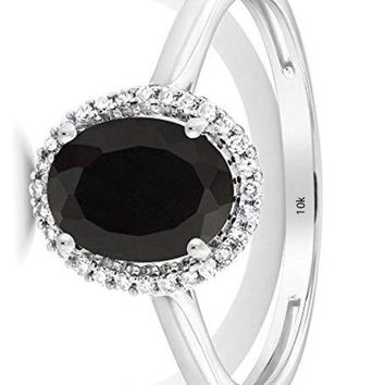 CERTIFIED 1.25 Cttw 10K White Gold Black Onyx and Diamond Halo Engagement Ring