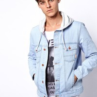 ASOS Denim Jacket With Hood - Blue