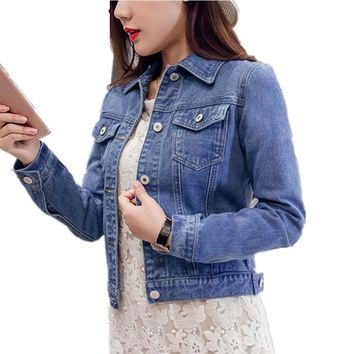 Women Long Sleeve Stretch Short Denim Jacket
