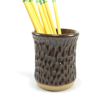 Heavily textured ceramic tumbler - pottery pencil cup - stoneware drinking glass - juice cup - handleless mug - dark brown pottery cup