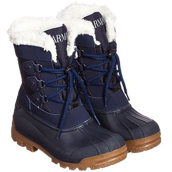 Armani Junior Boys Navy Blue Insulated Snow Boots