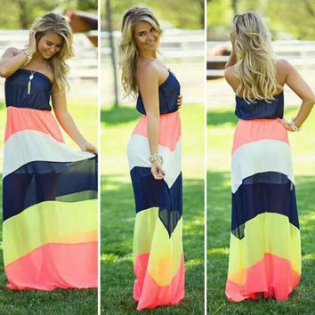 Sexy Women Strapless Long Dress Patchwork Chiffon High Waist Maxi Dress