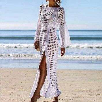 Sexy Transparent Cover Up Women Beach Crochet Bikini Covers-Up Lace Beachwear White Beach Dress sarong pareo Beach Coat