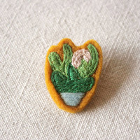 Midnight Bloom Cactus Felt Embroidered Pin Brooch