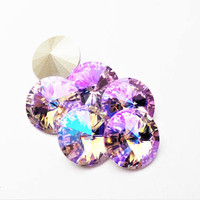 Six Violet Glacier Blue 1122 12mm Foiled Swarovski Pointed Back Rivoli
