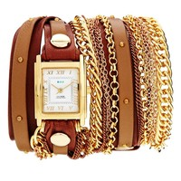 La Mer Arizona Duo Chain & Stud Brown Watch - Brown