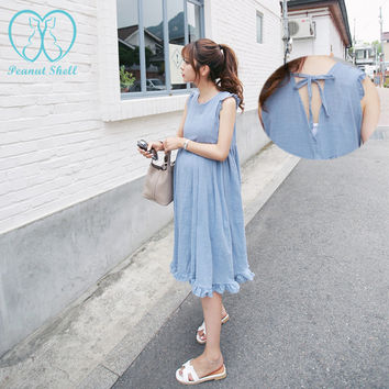 0020# 2017 Summer Fashion Ruching Linen Vest Maternity Long Dress Back Frenal Ruffles Loose Tank Clothes for Pregnant Women