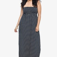 Navy Polka Dot Smocked Challis Maxi Dress | Shop All Fashion