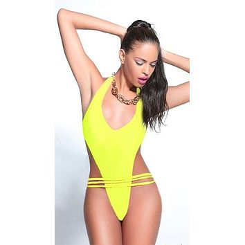 Lila Nikole Bungee One Piece Swimsuit with Brazilian Cut Bottom