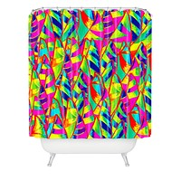 Renie Britenbucher Abstract Sailboats Neon Shower Curtain