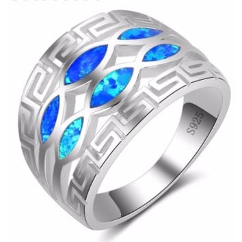 "Men's Blue ""Fire"" Opal Ring"