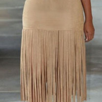 Nude Faux Suede Tassel Fringed Skirt