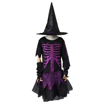 Witch Cosplay Costume Girl Halloween Costumes Skeleton Children Fairytale Skele Fancy Dress Skirt with Hat for Carnival Party