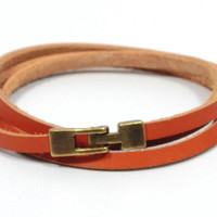 bronze bracelet * orange bracelet for men * mens leather bracelet * bronze jewelry * triple wrap bracelet * gifts for men * gifts for dad