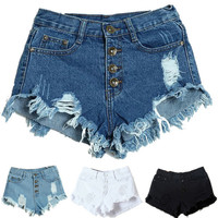 Amazing Summer Sexy Women's Lady Fashion Slim Fit Bore Hole Denim Shorts
