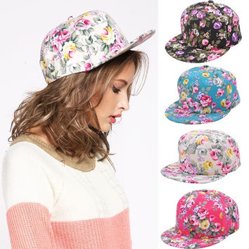 Fashion Floral Flower Snapback Hip-Hop Hat Flat Peaked Adjustable Baseball Cap W_C = 1958020868