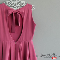 SALE - Backless purple pink summer dress simple pleated dress bow back tie dress Small