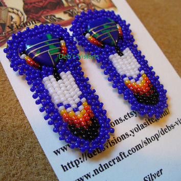 Native American Style rosette beaded inlay Heart with Feather earrings in Cobalt Blue
