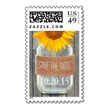 Country Mason Jar Sunflower Wedding Save The Date