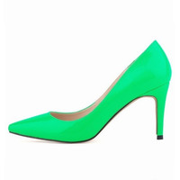 LOSLANDIFEN women pumps high heel stilettos shoes neon green color multi color patent leather pumps wedding dress shoes 40-42