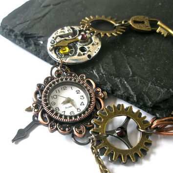 Watch Bracelet Steampunk Watch jewelry Fantasy Victorian cogs hands gears charms Swarovski crystal Citrine Garnet Ready To Ship