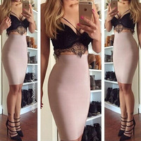 Sexy Lace Bra Solid Color Dress