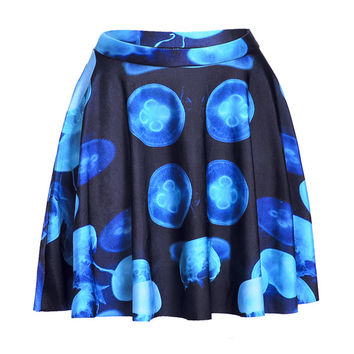 Blue Jellyfish Print Skater Skirt