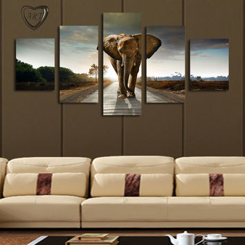 5 Pane lElephant  Painting Canvas Wall Art Picture Home Decoration Living Room Canvas Print Modern Painting--Large Canvas Art