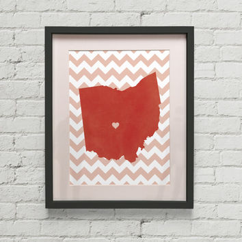 State of Ohio Columbus Heart Location Map Silhouette 8x10 Art Print Buy 2 Get 1 Free Home Decor America Customized Location