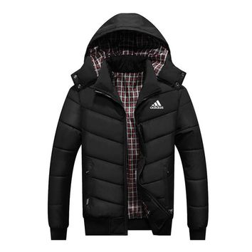ADIDAS autumn and winter men's thick hooded casual windproof sports jacket plus velvet padded jacket black