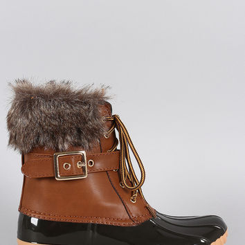 Buckled Faux Fur Cuff Lace Up Duck Ankle Boots