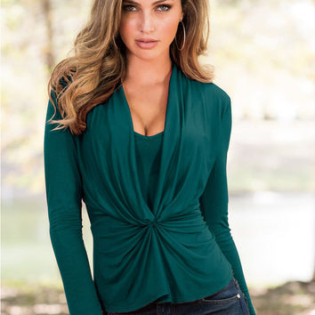 Green Ruched Long Sleeve Blouse
