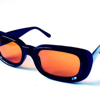Mod Sunglasses Retro Black with Bright Orange Lenses by FireGrog