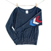 4th of July Sequin Chevron Dolman Tee - Red White and Blue Sequin Patch