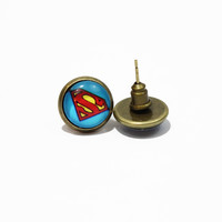 Super Man Graphic Earrings