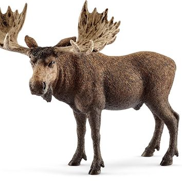 Schleich® 14781 Moose Bull Toy Figure, Brown, For Ages 3+